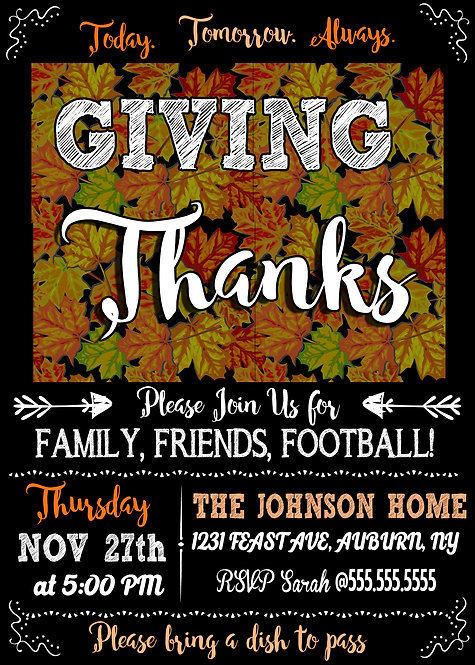 Giving Thanks Invitations