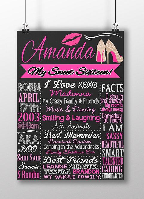 Diva 16th Birthday Board