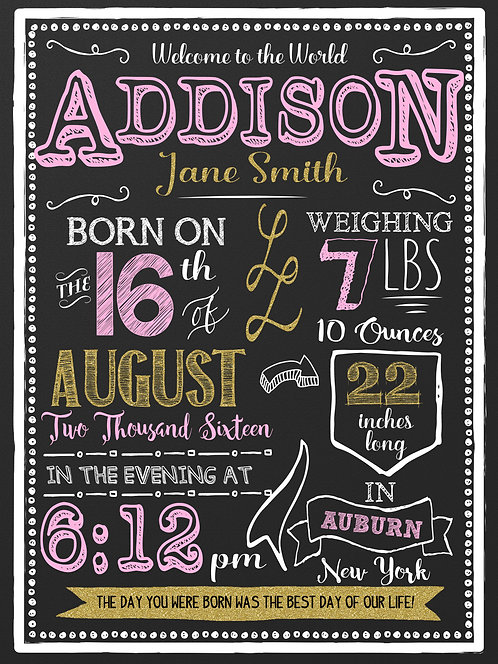 Pink & Gold Newborn Announcement