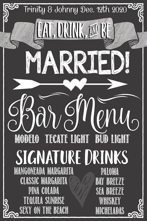 Custom Bar Menu Sign