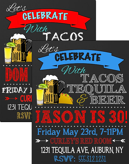 Tacos Tequila Beer Invite