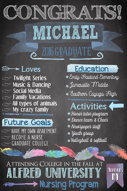 Watercolor Graduation Blue