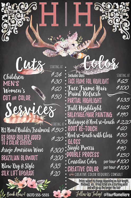 Salon Price List Vintage