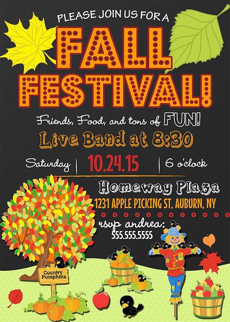 Colorful fall festival invite