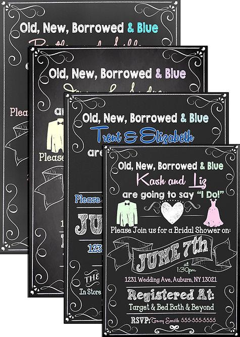 Old new borrowed blue invite