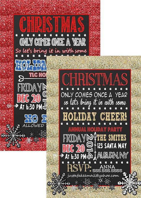 Glitter Christmas Party Invite