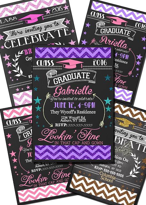 Girl Chevron Graduation Invite