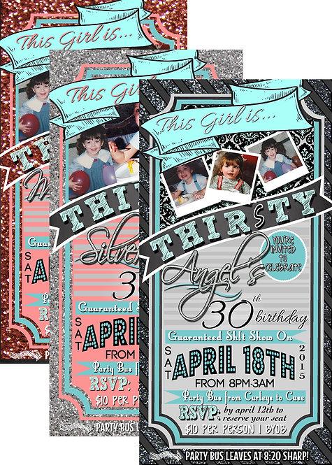 Glitter 30th Invite