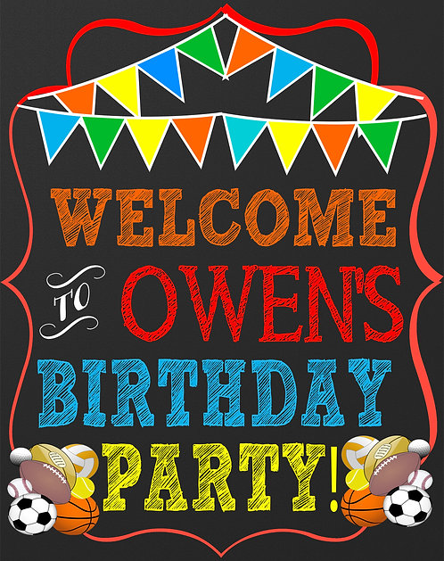 Sport Birthday Welcome Sign