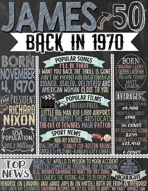 1970 Birthday Board