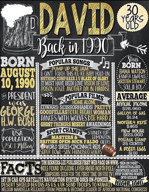 1990 Birthday Board