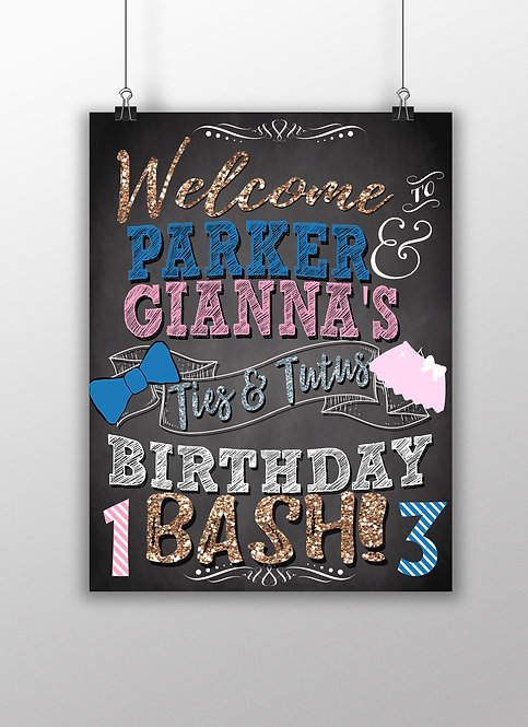 Sibling Birthday Party Sign