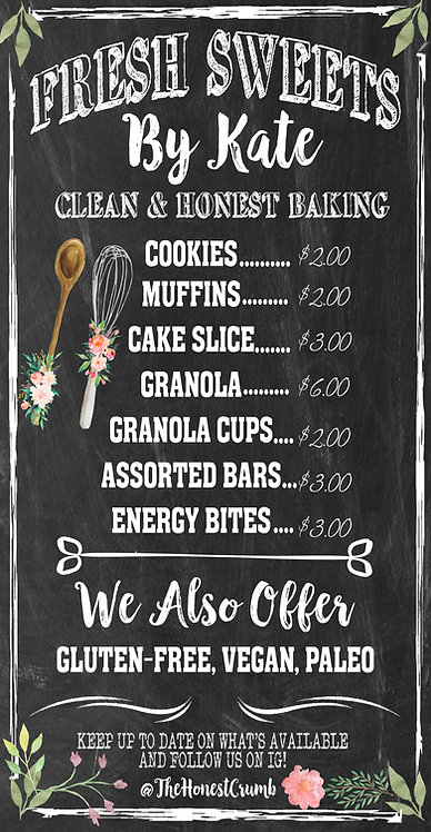 Custom Bakery Menu