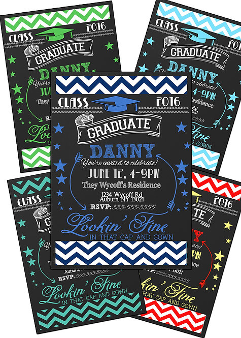Boy Chevron Graduation Invite