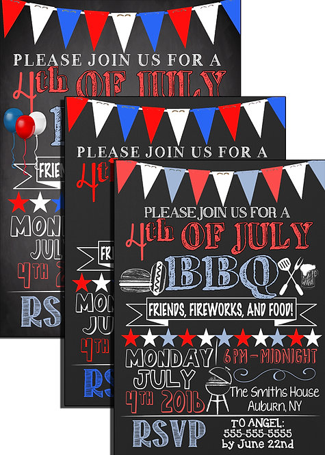 July 4th BBQ Invites