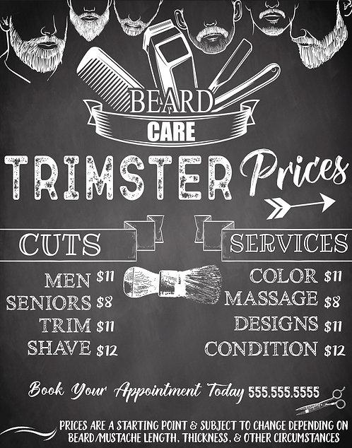 Barbershop Menu Sign