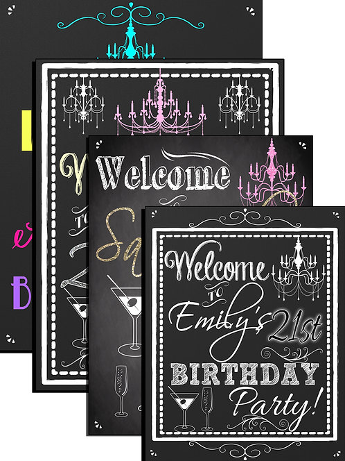 Vintage Bday Welcome Sign
