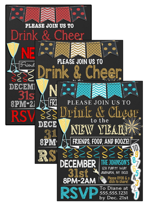 drink cheer new year invite