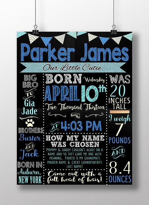 Blue Newborn boy Sign