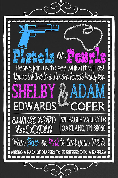 Pistol or Pearls Gender Reveal