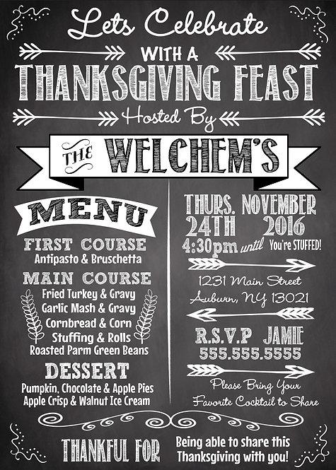 Thanksigiving Feast Menu Invite