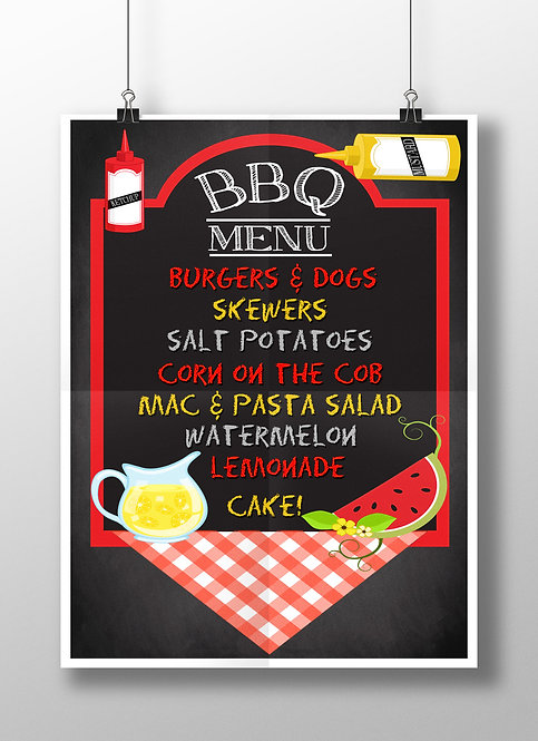 Backyard BBQ menu sign chalk