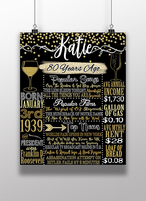 Gold 80th Party Decor