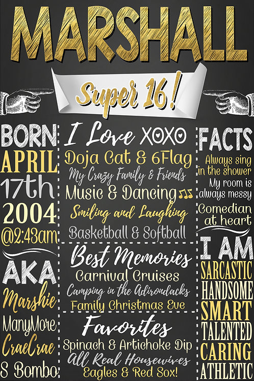 Boys 16th Birthday Sign