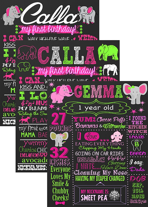 Elephant Pink & Green Birthday
