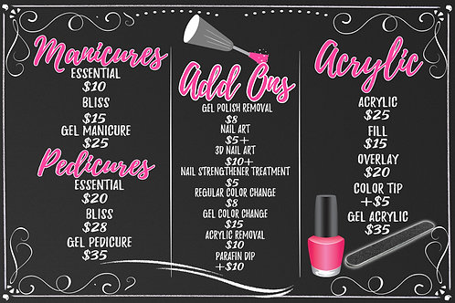 Nail Salon Sign & Pricing