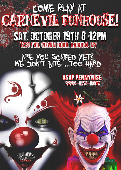 Scary Clown Invites