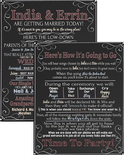 Funny wedding program