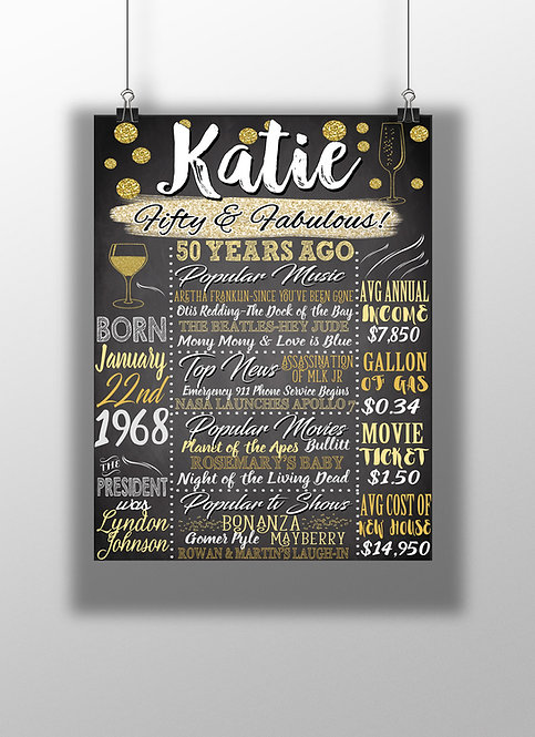 Gold 50th Birthday Party Sign