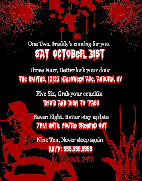 Freddy Krueger Scary Invites