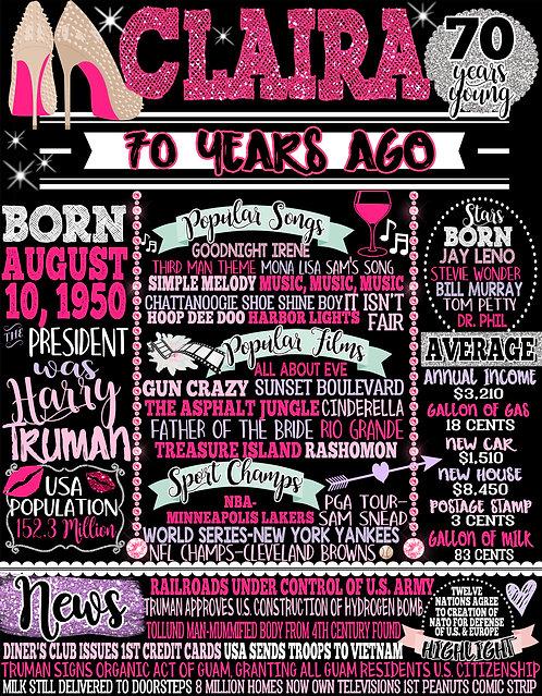 Pink 70th Birthday Decor