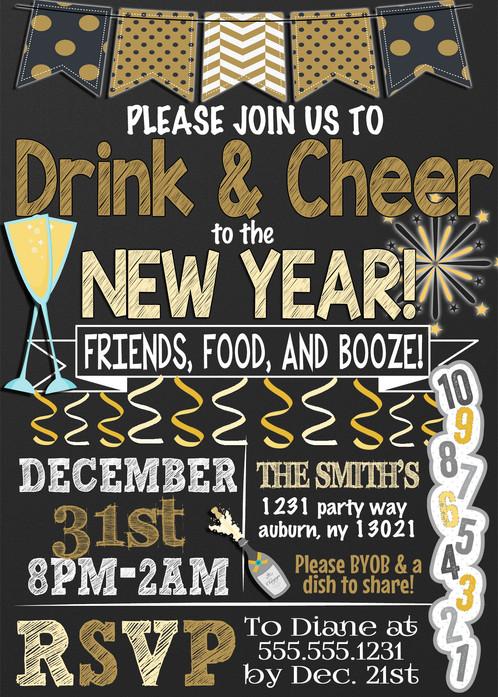 drink cheer new year invite