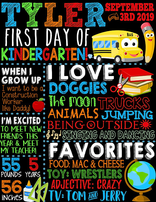 Primary Colors First Day of School Sign