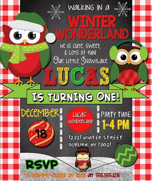 Christmas Owl Invite