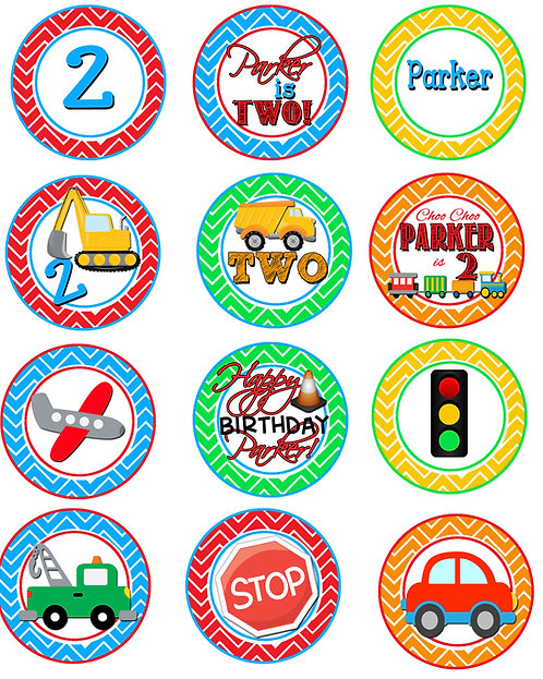 Transportation cupcake labels