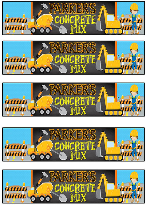Construction Concrete Mix Label