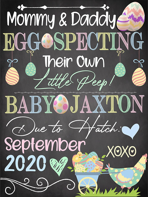 We're Eggspecting Sign