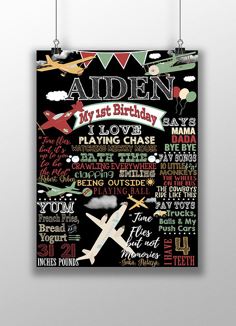 Vintage plane birthday party sign