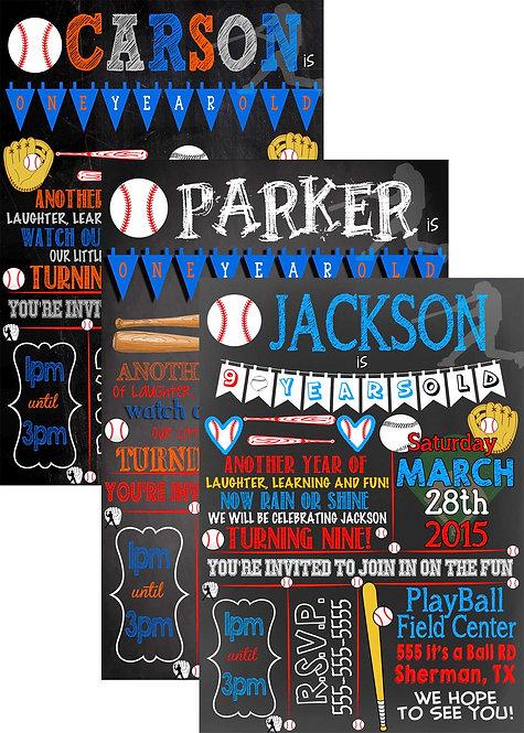 Baseball birthday invites
