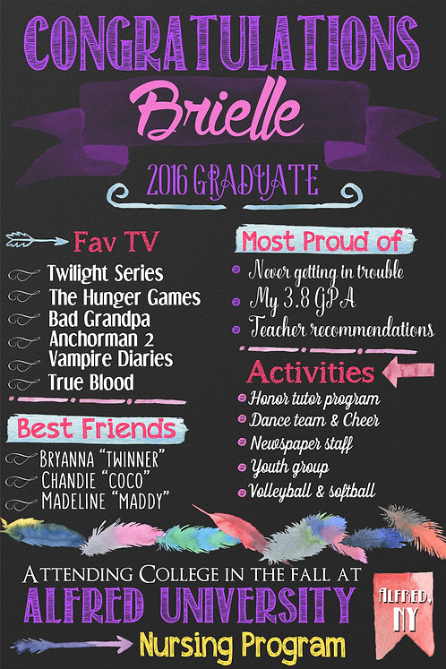 Watercolor Graduation Purple