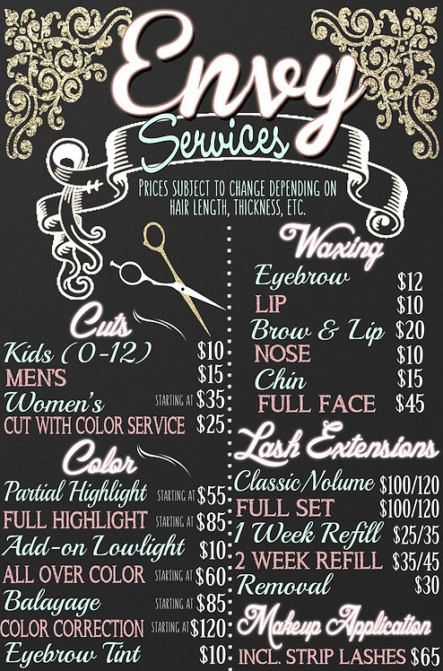 Hair Salon Menu Pricing