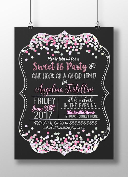 Sweet 16 birthday party invitation Custom Printables