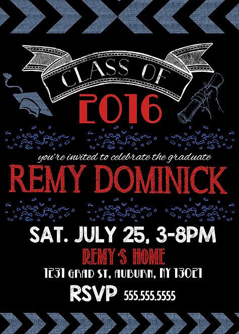 Red Blue Graduation Invites