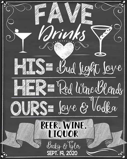 His, Hers & Our Drink Menu