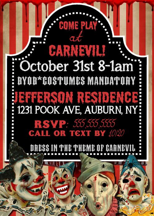 evil clown invitations