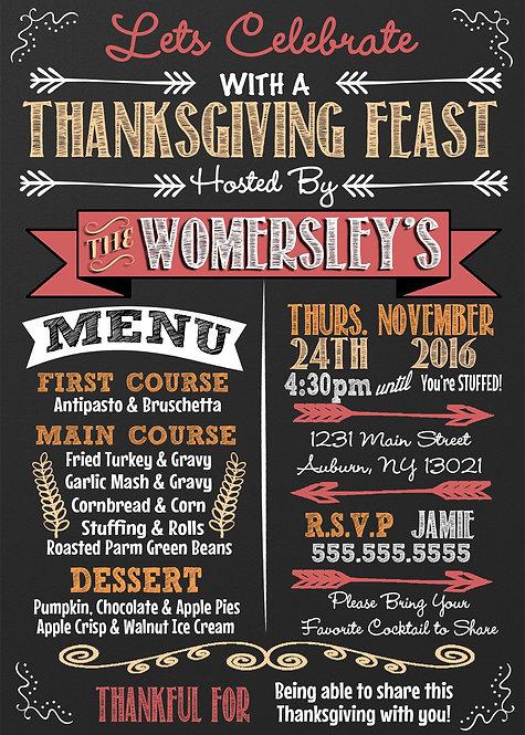 Thanksgiving Feast Menu Invite